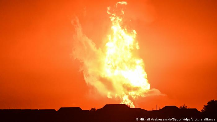 A fire is seen after an explosion is seen in the Azerbaijan's sector of the Caspian Sea.