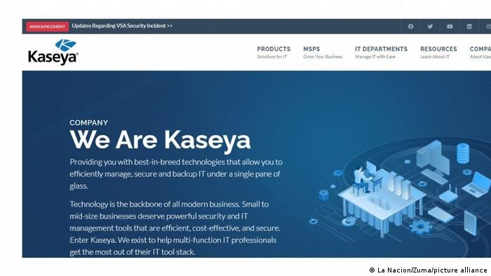 REvil Cyberangriff |Webseite des Unternehmens Kaseya