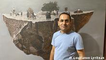 The painter George Gavriel in his studio in Nicosia on 28/6/2021 Key words: Cyprus, art, painting Copyrights: Loukianos Lyritsas ©Loukianos Lyritsas