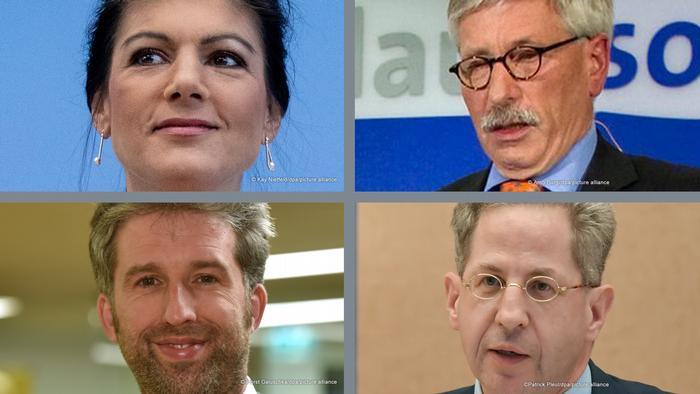 Four heads. upper: Sahra Wagenknecht (l),Thilo Sarazzin, lower: Boris Palmer (l), Hans-Georg Maaßen,