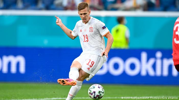 Spain's Dani Olmo kicks the ball during the Euro 2020 quarterfinal match between Switzerland and Spain