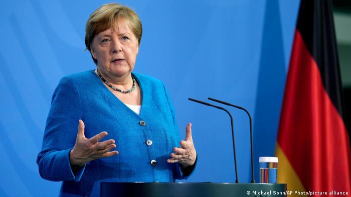 Канцлер Германии Ангела Меркель во время пресс-конференции по итогам конференции по Западным Балканам, Берлин, 5 июля 2021 года