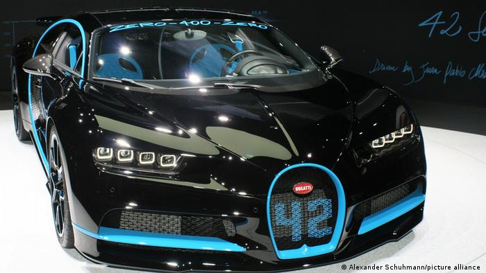 A Bugatti Chiron at the Bugatti booth at the 2017 IAA car show in Frankfurt.