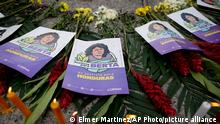 Flyers with the image of slain Honduran environmental and Indigenous rights activist Berta Caceres and calling for justice, lay on the ground during a protest on the day of the trial against Roberto David Castillo Mejia in Tegucigalpa, Honduras, Monday, July 5, 2021. A court has unanimously found Castillo Mejia guilty of participating in the killing of Caceres who was shot by armed men at her home on March 3, 2016, considering him the mastermind of the crime. (AP Photo/Elmer Martinez)
