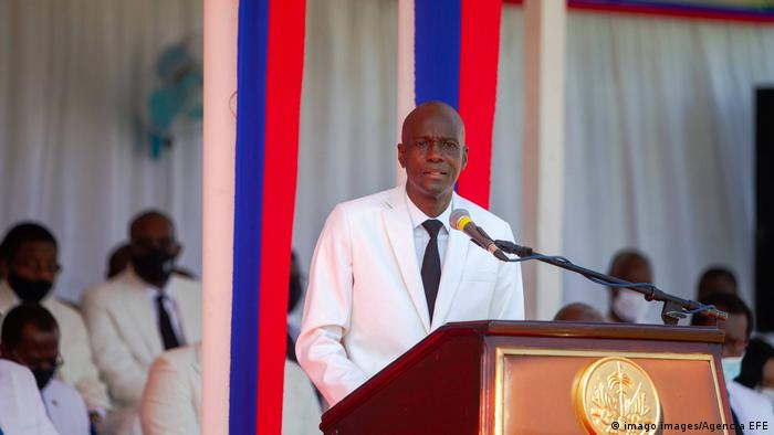 Jovenel Moise delivers a speech during the official Flag Day celebration ceremony in Port-au-Prince, Haiti, 18 May 2021