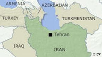 Karte Iran und seine Nachbarstaaten Nordwest Englisch