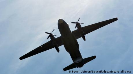 An Antonov-26 plane pictured from below