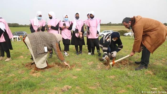 Frauen in rosa Kleidung pflanzen Setzlinge in Libyen.