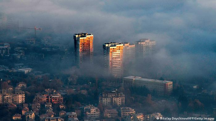 Panoramic view of a high pollution area in Sofia, Bulgaria