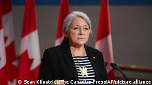 Mary Simon speaks during an announcement at the Canadian Museum of History in Gatineau, Que., on Tuesday, July 6, 2021. Simon, an Inuk leader and former Canadian diplomat, has been named as Canada's next governor general — the first Indigenous person to serve in the role. (Sean Kilpatrick/The Canadian Press via AP)