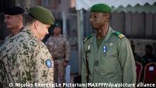 ©Nicolas Remene / Le Pictorium/MAXPPP - Nicolas Remene / Le Pictorium - 12/12/2019 - Mali / Koulikoro / Bamako - Ceremonie pour la passation de commandement entre le commandant autrichien, le General de brigade Christian Harbersatter et l'actuel chef de l'EUTM Mali, le General de brigade Joao Pedro Boga Ribeiro (Portugal). La ceremonie s'est tenue au QG de l'EUTM a Bamako en presence du Chef d'Etat-major General des Armees maliennes, le General de division Abdoulaye Coulibaly et le chef de la MINUSMA M. Annadif Mahamat Saleh. / 12/12/2019 - Mali / Koulikoro / Bamako - Ceremony for the change of command between the Austrian commander, Brigadier General Christian Harbersatter and the current head of EUTM Mali, Brigadier General Joao Pedro Boga Ribeiro (Portugal). The ceremony was held at EUTM HQ in Bamako in the presence of the Chief of the General Staff of the Malian Armies, Major General Abdoulaye Coulibaly and the head of MINUSMA Mr. Annadif Mahamat Saleh.