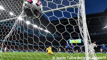 Spain's forward Alvaro Morata (2nd-R) scores the equaliser during the UEFA EURO 2020 semi-final football match between Italy and Spain at Wembley Stadium in London on July 6, 2021. (Photo by JUSTIN TALLIS / AFP) (Photo by JUSTIN TALLIS/AFP via Getty Images)