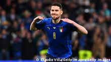 LONDON, ENGLAND - JULY 06: Jorginho of Italy celebrates scoring their sides winning penalty in the penalty shoot out during the UEFA Euro 2020 Championship Semi-final match between Italy and Spain at Wembley Stadium on July 06, 2021 in London, England. (Photo by Claudio Villa/Getty Images)