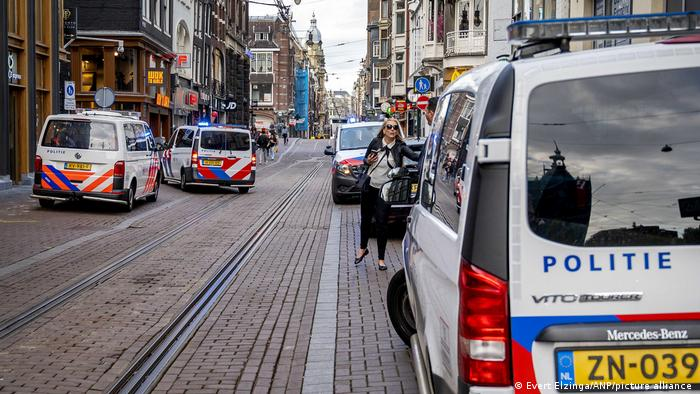 Police vehicles in Amsterdam on July 6, after the shooting of prominent journalist Peter R. de Vries.