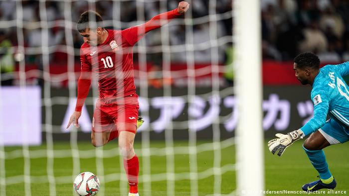 Mirlan Murzaev scores for Kyrgyzstan in the 2019 Asian Cup