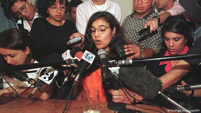 Zoilamérica Narváez Murillo en 1998, tras presentar denuncia contra Daniel Ortega.