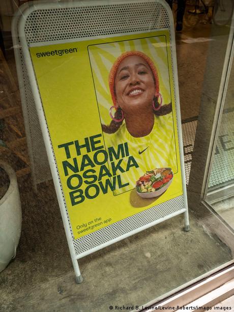 Sweetgreen restaurant billboard in New York featuring Naomi Osaka