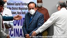 16/01/2021*** India's Health Minister Harsh Vardhan arrives to watch Covid-19 coronavirus vaccination at the All India Institute of Medical Science (AIIMS) in New Delhi on January 16, 2021. (Photo by Sajjad HUSSAIN / AFP) (Photo by SAJJAD HUSSAIN/AFP via Getty Images)