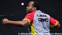 Quadri Aruna of Nigeria competes during the men's singles match against Joao Geraldo of Portugal in Doha, Qatar