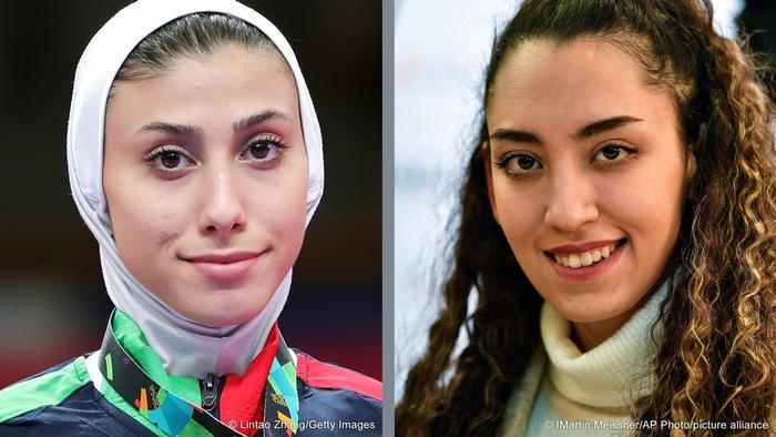 کیمیا علیزاده (راست) مقابل حریف ایرانیاش، ناهید کیانی (چپ) در دور نخست رقابتهای تکواندو المپیک برنده شد.