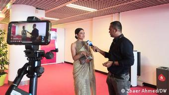 Azmeri Haque Badhon speaks during an interview with DW