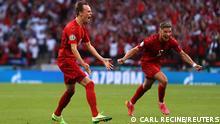 Soccer Football - Euro 2020 - Semi Final - England v Denmark - Wembley Stadium, London, Britain - July 7, 2021 Denmark's Mikkel Damsgaard celebrates scoring their first goal Pool via REUTERS/Carl Recine