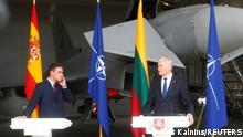 08.07.2021 - Spanish Prime Minister Pedro Sanchez and Lithuanian President Gitanas Nauseda attend a news conference in Siauliai air base, Lithuania July 8, 2021. REUTERS/IntsKalnins