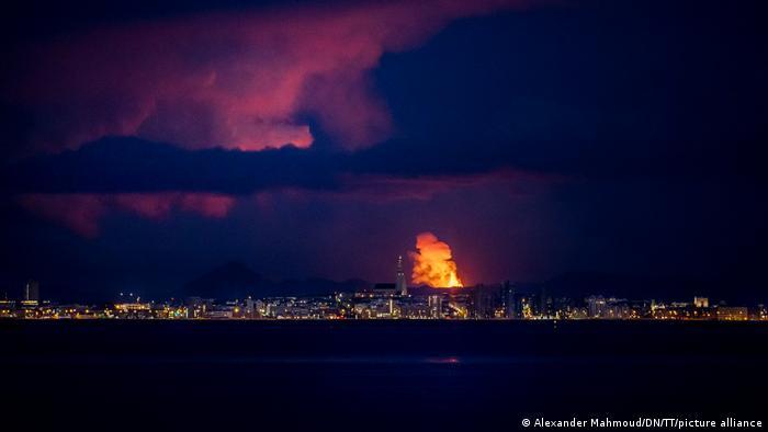 Iceland | Eruption of Fagradalsfjall: Reykjavik skyline