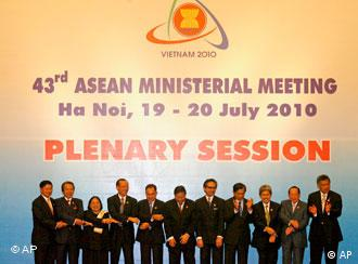Foreign Ministers from the ASEAN bloc gather for a group photo during the plenary session