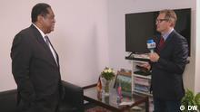 08.07.2021 Botschafter Haitis in Deutschland, Frantz BATAILLE, während eines Interviews mit DW-Korrespondent Hans Brandt am 8.7.201 in Berlin.