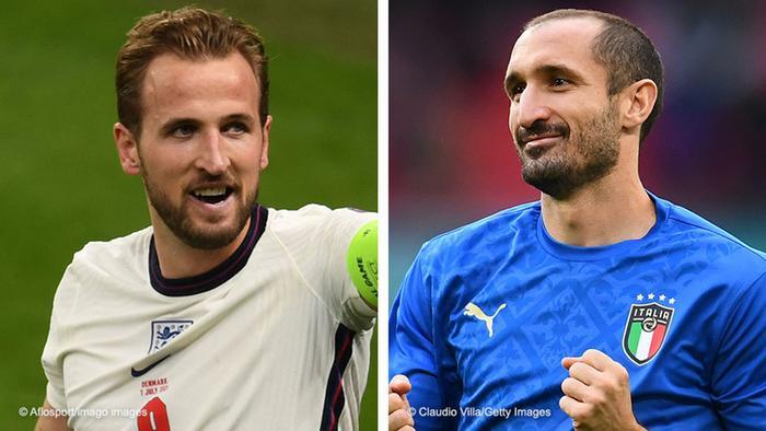 England captain Harry Kane and Italy captain Giorgio Chiellini