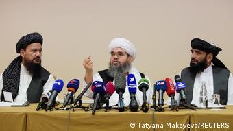 Члены делегации Талибана на пресс-конференции в Москве 9 июля 2021 года
