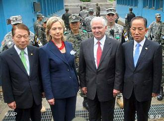 US Secretary of State Clinton with South Korean Foreign Minister Yu Myung-hwan, US Defense Secretary Gates and his South Korean counterpart Kim Tae-young