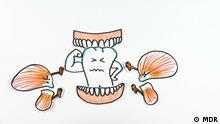 Still aus MDR Beitrag: 'Zähneknirschen'. Titel: Zähneknirschen Schlagworte: Zähne, In Good Shape Copyright: MDR DW Sendung In Good Shape © MDR