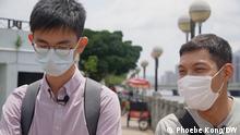 Journalist Pun, Fotograf Harry, die bis vor kurzem für die inzwischen eingestellte regierungskritische Zeitung Apple Daily in Hongkong gearbeitet haben.