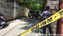 Journalists stand next to a yellow police cordon near the residence of Haiti's President Jovenel Moise after he was shot dead by unidentified attackers, in Port-au-Prince, Haiti July 7, 2021. REUTERS/Estailove St-Val NO RESALES. NO ARCHIVES