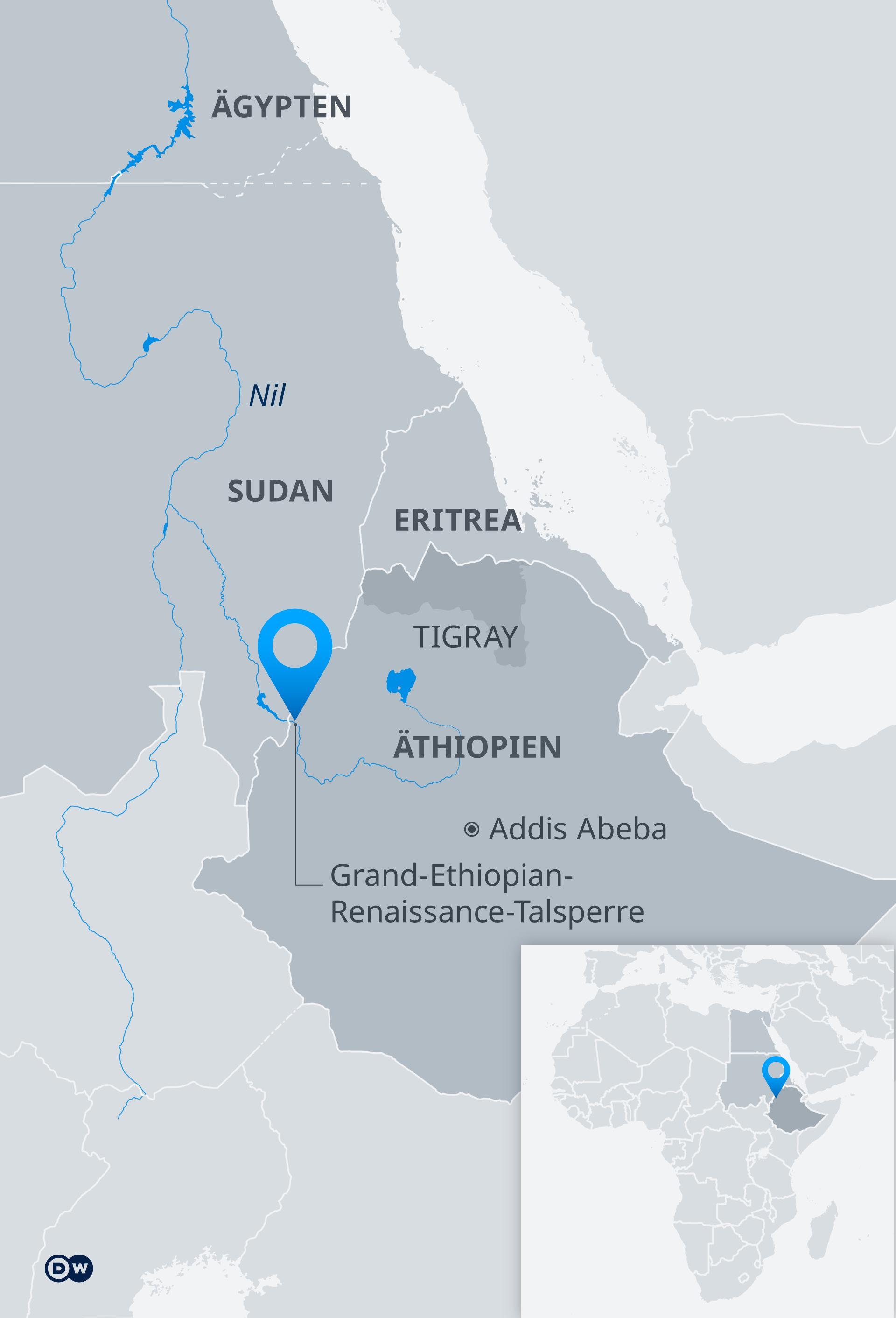 Karte: Äthiopien mit der Grand-Ethiopian-Renaissance-Talsperre