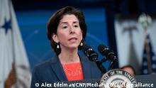 U.S. Secretary of Commerce Gina M. Raimondo speaks during an event about high speed internet at the White House on Thursday, June 3, 2021 in Washington, D.C. Credit: Alex Edelman / Pool via CNP/MediaPunch