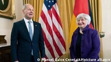 Treasury Secretary Janet Yellen meets German Finance Minister Olaf Scholz at the Department of the Treasury in Washington, Friday, July 2, 2021. (AP Photo/Manuel Balce Ceneta)