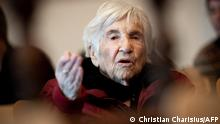 (FILES) In this file photo taken on December 09, 2019 Holocaust survivor Esther Bejarano attends a session of a trial against former SS guard Bruno Dey (not pictured) at a court in Hamburg, northern Germany. - Holocaust survivor Esther Bejarano has died, the director of the Anne Frank educational facility, Meron Mendel, announced via Twitter on July 10, 2021. Bejarano, who survived the Nazi extermination camp Auschwitz-Birkenau, was 96 years old. She later became involved in the Auschwitz Committee in Germany, among others. (Photo by Christian Charisius / POOL / AFP)