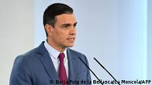 In this handout image released by La Moncloa on July 10, 2021 Spanish Prime Minister Pedro Sanchez makes an official statement to announce a reshuffle in his cabinet during a press conference at La Moncloa Palace, in Madrid. (Photo by Borja Puig de la BELLACASA / LA MONCLOA / AFP) / RESTRICTED TO EDITORIAL USE - MANDATORY CREDIT AFP PHOTO / LA MONCLOA/ BORJA PUIG DE LA BELLACASA- NO MARKETING - NO ADVERTISING CAMPAIGNS - DISTRIBUTED AS A SERVICE TO CLIENTS