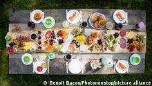 Top view of a brunch table in the countryside