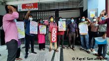 Protest gegen metoo-Vorfaälle in der Gesundheitsausbildung. Foto: Payel Samanta/DW 10.7.2021