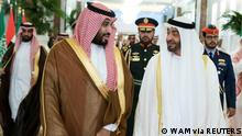 ARCHIV 2019 *** FILE PHOTO: Abu Dhabi's Crown Prince Sheikh Mohammed bin Zayed al-Nahyan receives Saudi Crown Prince Mohammed bin Salman at the Presidential Airport in Abu Dhabi, United Arab Emirates November 27, 2019. WAM/Handout via REUTERS. ATTENTION EDITORS - THIS IMAGE WAS PROVIDED BY A THIRD PARTY./File Photo