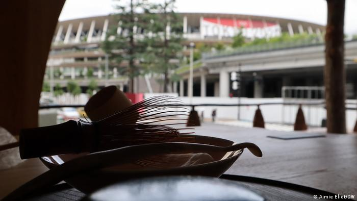 National Stadium by architect Kengo Kuma seen from the Go-an Tea House by Terunobu Fujimori