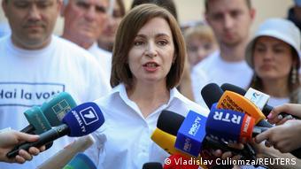 Президент Молдовы Майя Санду после голосования на парламентских выборах