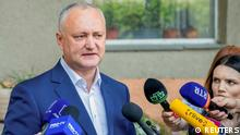 11.07.21 *** Igor Dodon, ex-president and leader of the Party of Socialists, speaks after voting at a snap parliamentary election, in Chisinau, Moldova July 11, 2021. REUTERS/Stringer NO RESALES. NO ARCHIVES
