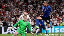 Soccer Football - Euro 2020 - Final - Italy v England - Wembley Stadium, London, Britain - July 11, 2021 England's Jordan Pickford saves from Italy's Federico Bernardeschi Pool via REUTERS/Carl Recine
