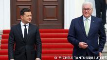 German President Frank-Walter Steinmeier welcomes Ukrainian President Volodymyr Zelenskiy at the Bellevue palace in Berlin, Germany, July 12, 2021. REUTERS/Michele Tantussi