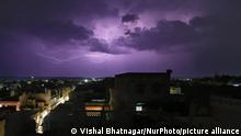 22.05.2021 Lightning flashes illuminates the sky over the walled city during the thunderstorm in Jaipur, Rajasthan, India, on May 22, 2021. (Photo by Vishal Bhatnagar/NurPhoto)